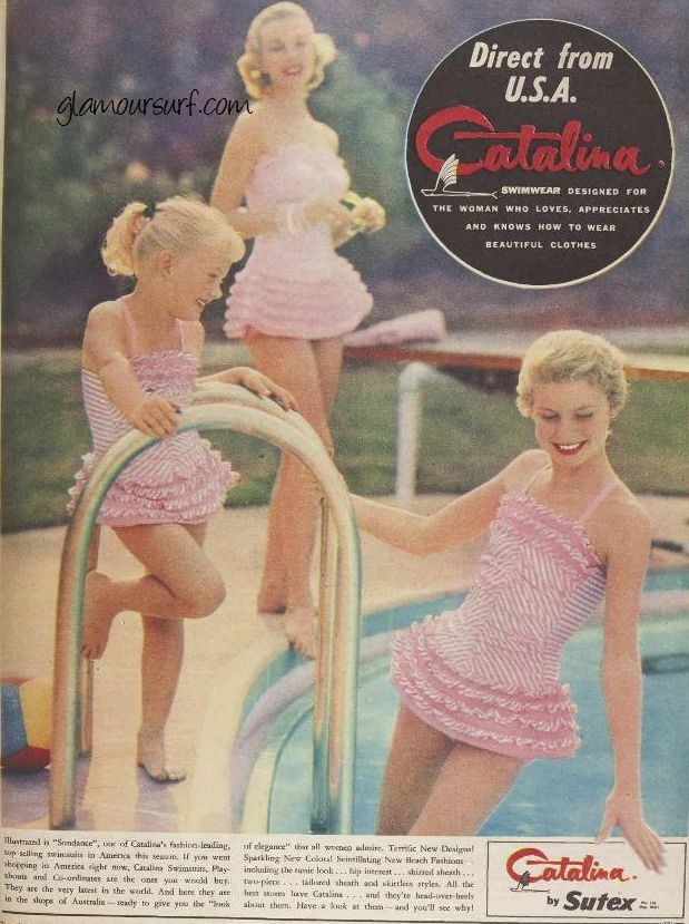 Women's, teens and children's Catalina bathing suit ad from 1956