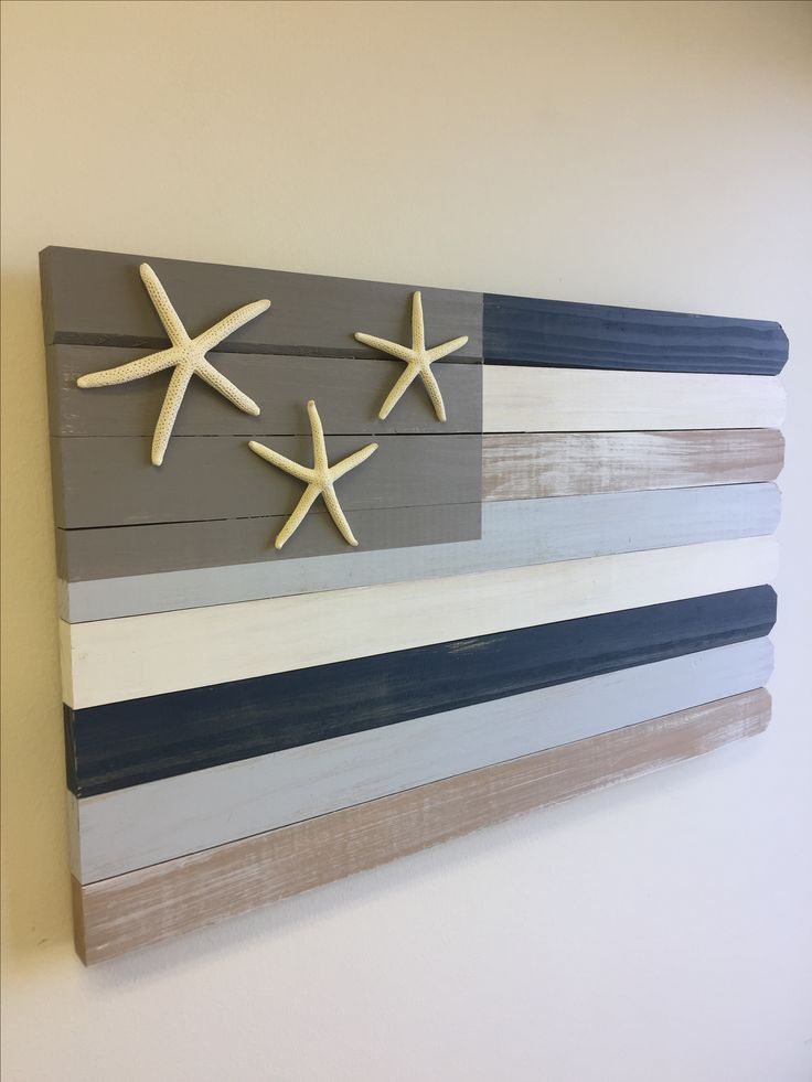 Beach decor- wood flag, nautical decor, starfish decor, beach house gift, Americana decor, beach wall art, rustic wood flag, wood beach flag.  Starfish Flag in blues and grays, looks fantastic anywhere indoors or out.