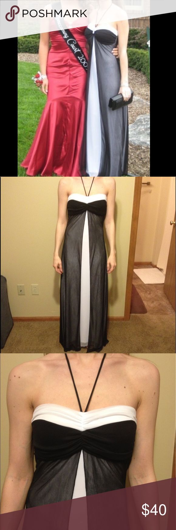 "Classic Black & White Panel Prom Dress Sz:5/6 Classic Black & White Panel A-Line Prom Dress Sz:5/6. This does have a few flaws where the material has some pilling. The first is on the right mid-thigh but is covered up by the black panel as seen in photo. The second is near the hem-so not very noticeable. This is a halter neck. No zipper but an elastic bust. (100% polyester) machine wash cold. Length from top of bust to bottom hem-50"". Waist-12.5"" across. Bust-13.5"" across. Taboo Dresses Prom"