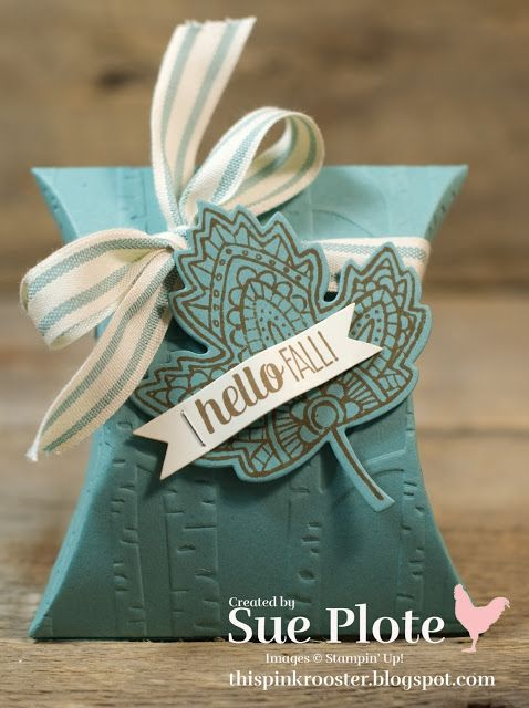 This Pink Rooster Hello Fall Pillow Box Using Lighthearted Leaves And Woodland Textured Impressions Embossing Folder