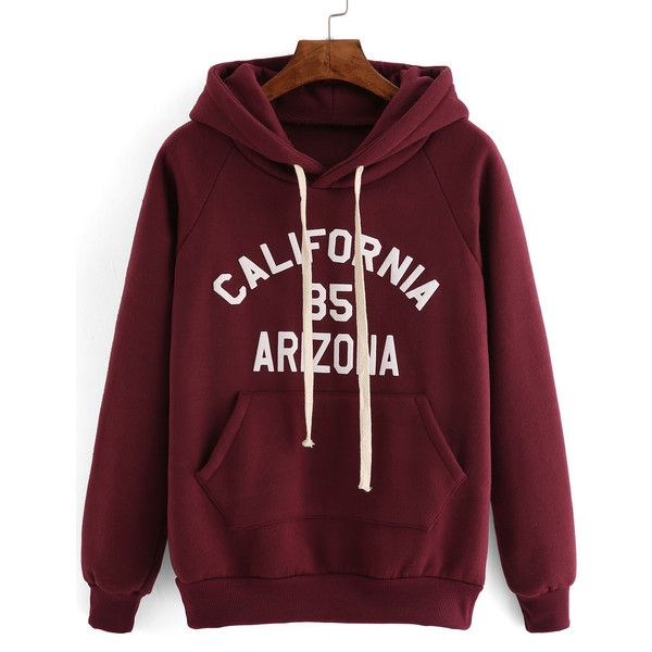 Hooded Drawstring Letter Print Maroon Sweatshirt (£9.70) ❤ liked on Polyvore featuring tops, hoodies, sweatshirts, outerwear, shirts, red, red hooded sweatshirt, red shirt, red hoodie and red sweatshirt