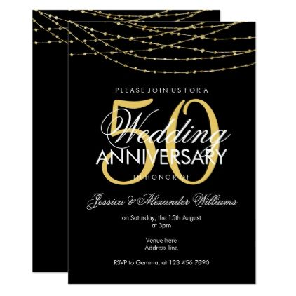 Glamorous Gold Lights 50th Wedding Anniversary Card - string of lights wedding gifts diy marriage party personlize unique