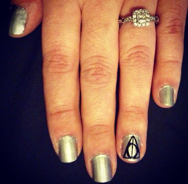 simple Deathly Hallows nails by Kittie | Rings for men ...