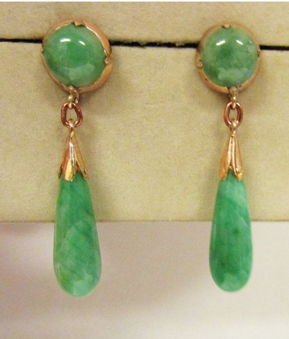 Jp Vintage Gold Le Green Jade Dangle Earrings Pinterest And Jewelry