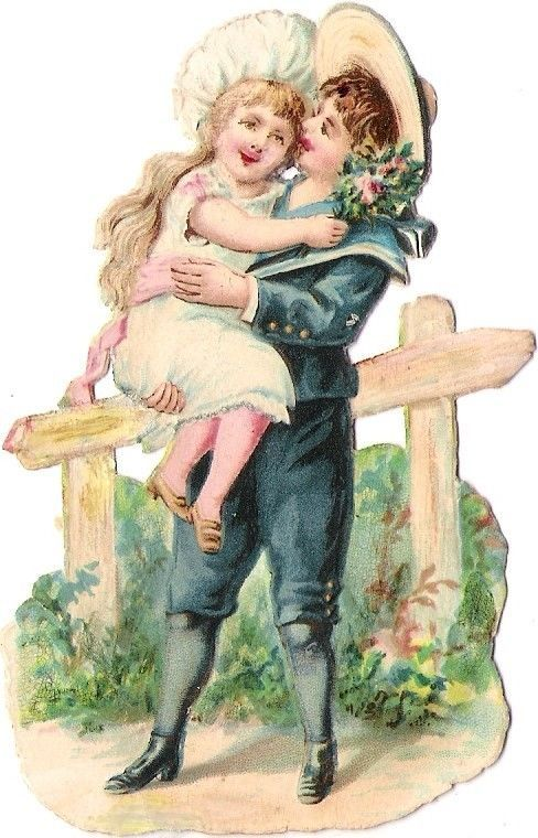 Oblaten Glanzbild scrap diecut chromo Kind child couple Paar girl boy Mädchen: