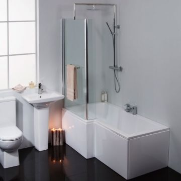 L-shaped bath inc panel and glass £299.95 like the shower head