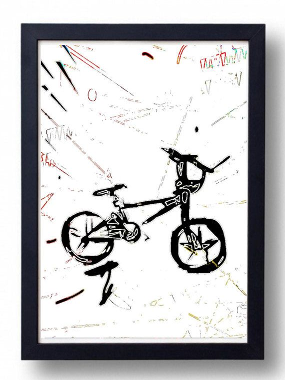 BMX Bicycle Print Black Bike Graffiti Sketch Digital Drawing Art Print Quality Art Print 30X45 CM Original Wall Art Street Art Gift On Sale