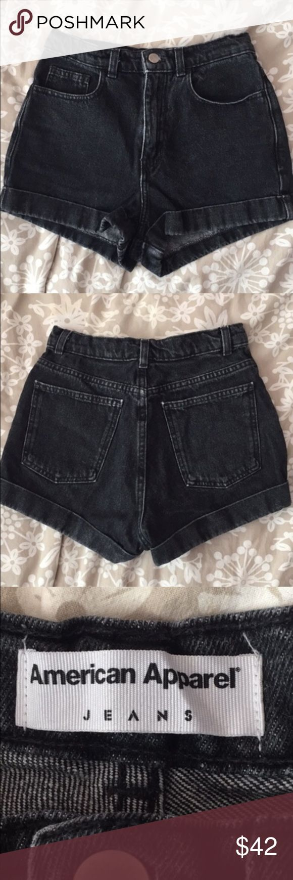 High Waisted Acid Wash Shorts Bought from AA! this girls thighs can't fit in this anymore lmao.. super thick material that makes anyone's body look prime American Apparel Shorts Jean Shorts