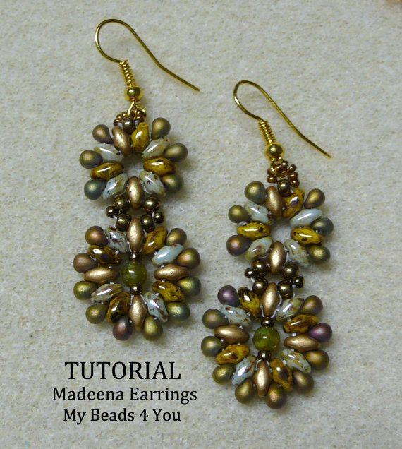 PDF  Beaded Earrings Tutorial, SuperDuo Tutorial, Seed Bead Earrings, Earring Tutorial, Beadwork Tutorial, Seed Bead Earrings Tutorial