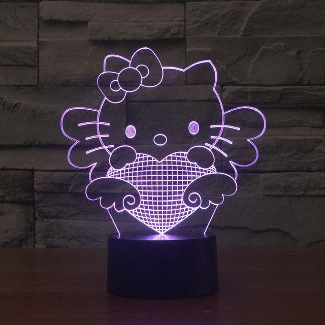 Hello Kitty Inspired Kitty Angel 3D Optical Illusion Lamp