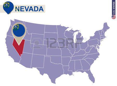 Estado de Nevada en EE.UU. mapa. bandera de Nevada y el mapa. Estados Unidos.