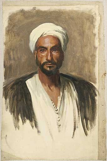 "Zechariah 3:5 - ""And I said, Let them set a fair mitre upon his head. So they set a fair mitre upon his head, and clothed him with garments. And the angel of the LORD stood by."" KJV. John Singer Sargent's ""Man with a White Turban"" c.1890 -c. 1891 oil painting.            According to the John Singer Sargent Virtual Gallery, http://jssgallery.org/,  This painting was part of oil studies in a collection which served as preparatory studies for John Singer Sargent's Boston Public Library murals…"