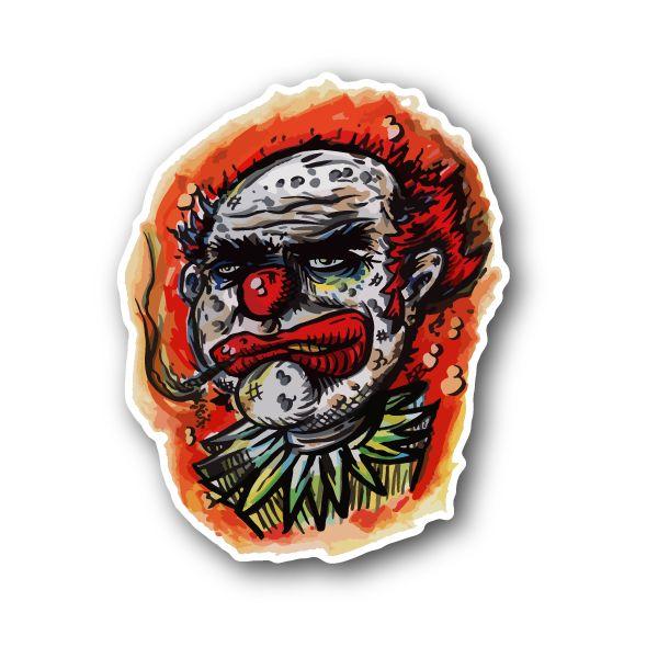 Clown smoking joint vinyl sticker 01