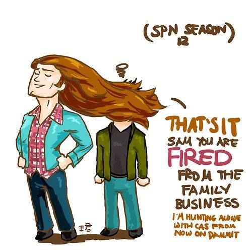 LOL Sam will be fired from the family business because his hair is too fabulous #SPN
