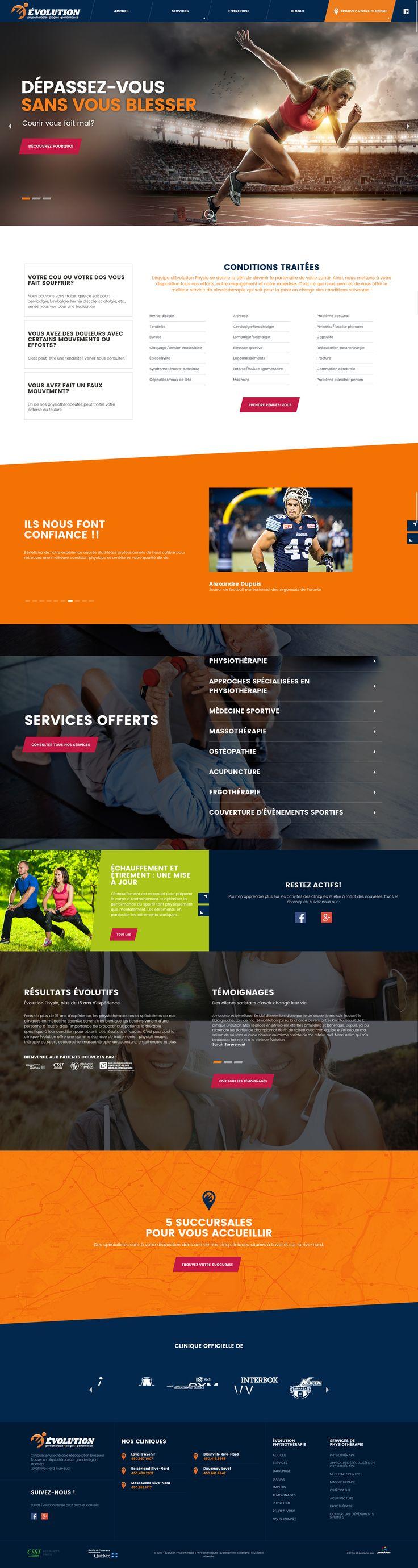 Nos Réalisations: Nouveau Site web d'Évolution Physio. Physiothérapie, Massothérapie, Othéopathie, Acupuncture, Ergothérapie #webdesign #Physiotherapie