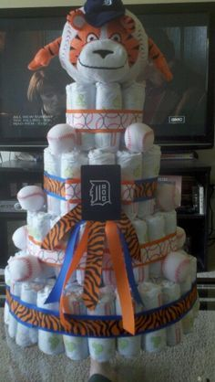 Baby Shower Ideas, Phoenix S Shower, Diaper Cakes, Tigers Shower, Detroit Tigers Baby Shower, Tigers Diaper, Baby Showers