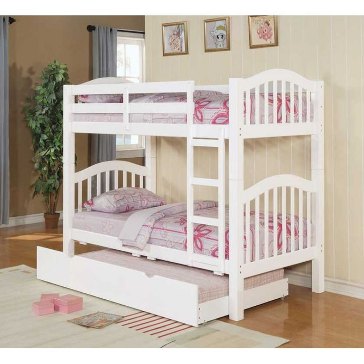 Acm white finish twin bunk bed with trundle picture listed for Girls white twin bed