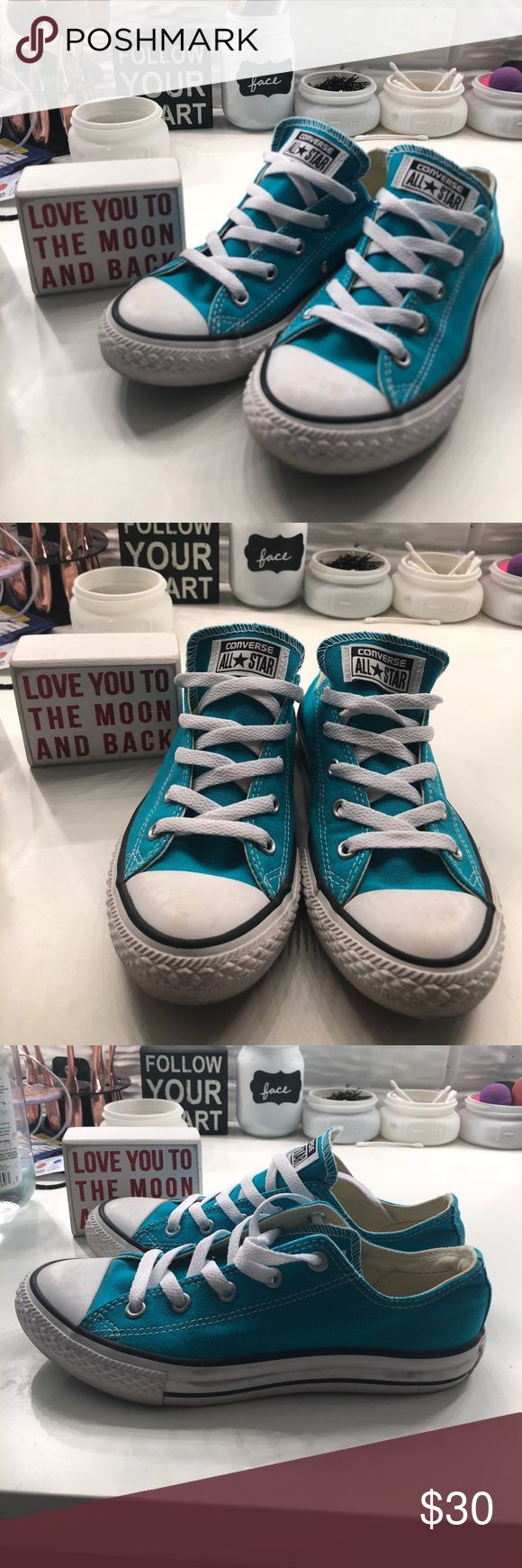 TEAL CONVERSE  Beautiful teal low-top chucks. Never worn  Converse Shoes Sneakers