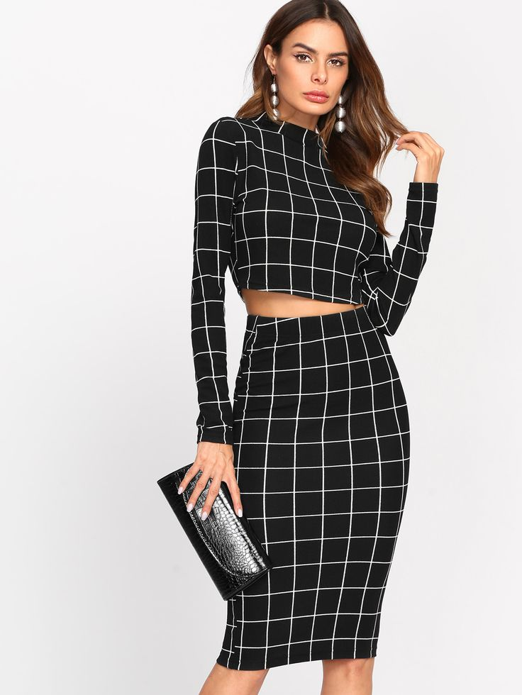 Shop Crop Grid Top & Pencil Skirt Co-Ord online. SheIn offers Crop Grid Top & Pencil Skirt Co-Ord & more to fit your fashionable needs.