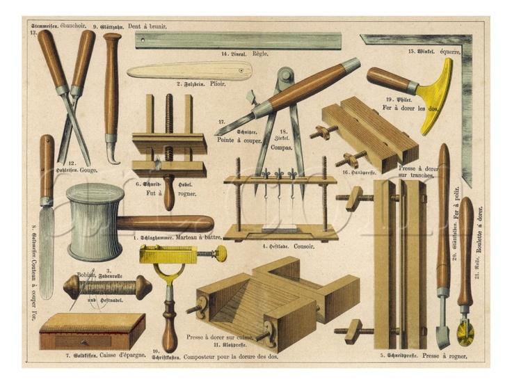 bookbinding tools poster, 1875.