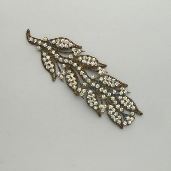 1920s Head Band with Brilliants.  Huge Leaf. Leaves.