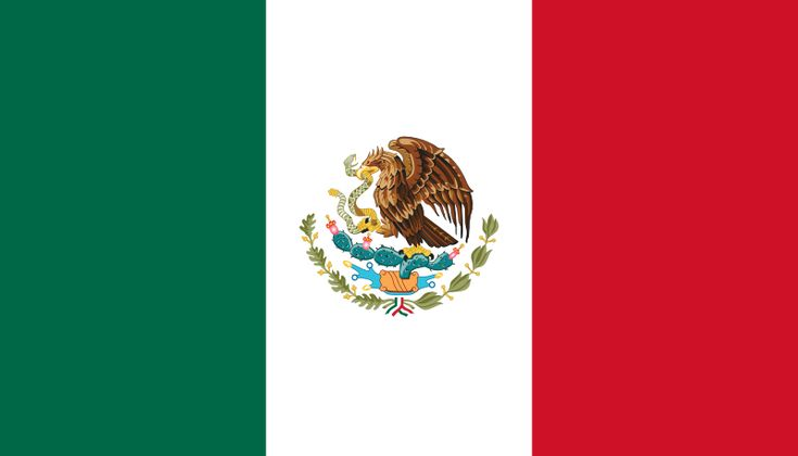 The flag of Mexico was officially adopted on November 2, 1821. The basic design is taken from the French Tricolor flag and the red, white and green are the colors of the national liberation army of Mexico. The coat of arms (centered) in the white band is the badge of Mexico City, the country's capital. Its main feature is an eagle, and it is said that an Aztec legend told them to build their new city on the exact spot where they saw an eagle sitting on a cactus, eating a snake.