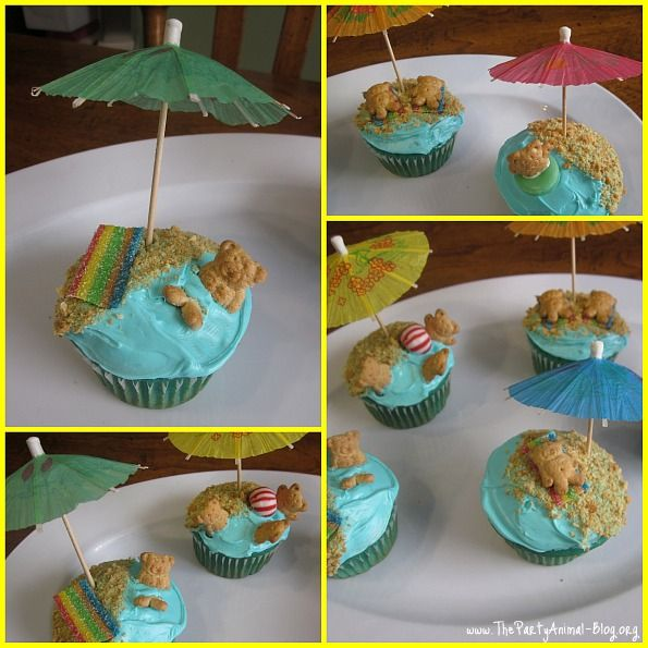 teddy graham cupcakes- with assorted candies as beach stuff
