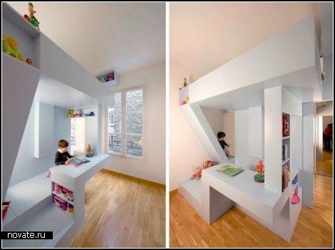 """Моя кровать - моя крепость. Проект Eva's Bed от h2o Architects  Детская комната - она же спальня, она же """"игральня"""", она же комната для занятий, в общем, универсальное место в доме. Наверное, именно ее многофункциональность позволяет дизайнерской фантазии рисовать немыслимые проекты интерьеров и предметов мебели. Так, корпорация h2o Architects спроектировала для малышей самую настоящую кровать-""""крепость"""" под названием Eva's Bed.    Evas Bed, h2o Architects, кровать, проект, мебель, дизайн"""