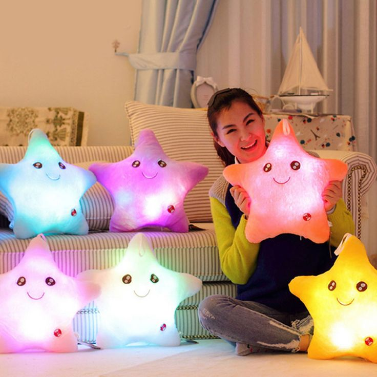 Colorful Star Glow LED Luminous Light  Cushion Lovely Soft Relax Gift Smile Stars Flashing Cushions Free Shipping  CA1T