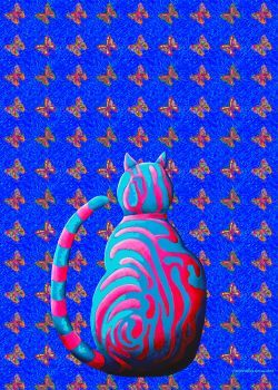 Butterflies and cat Artist: Howard, Cliff Artwork title: Confused cat