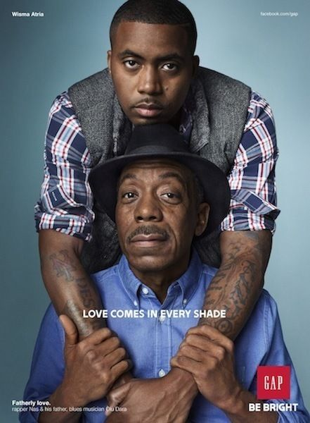 "Nas and his Father jazz musician Olu Dara in Fall Gap 2012 Ad campaign, ""Fatherly Love"""