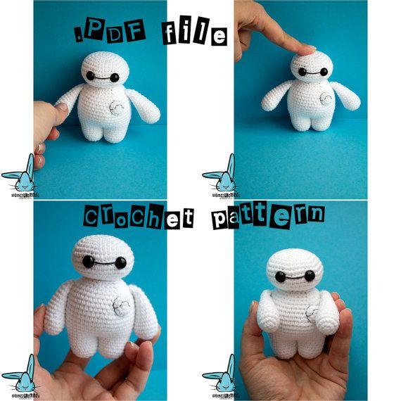 Baymax de ganchillo. Patrón de ganchillo PDF, Big Hero 6, Baymax crochet, amigurumi, ganchillo muñeca, juguete del ganchillo, mini Baymax, pequeño
