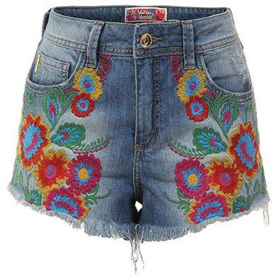 Shorts jeans Bordado Colcci
