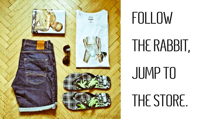 FOLLOW THE RABBIT, JUMP TO THE STORE. What goes well with The Meat. Fashion sets - inspiration for men by Meat Factory Clothing.