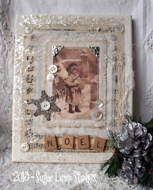 {A Very Vintage Christmas} - scrabble tiles - modge podge and a vintage Christmas card image