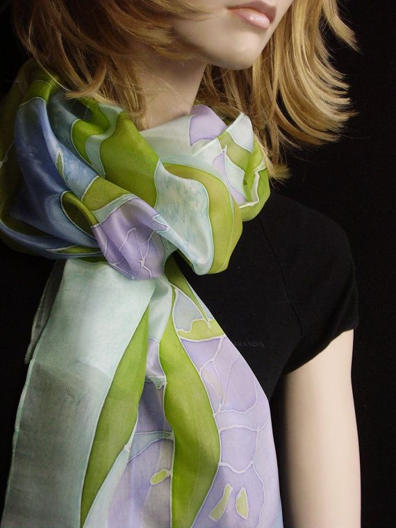 Hand painted Silk Scarf Lily Flowers by Evgene on Etsy, $49.00