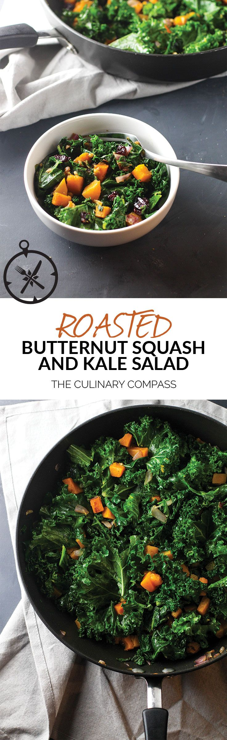 This Roasted Butternut Squash and Kale Salad is so easy to throw together and a perfect salad for cold winter nights! via @culinarycompass