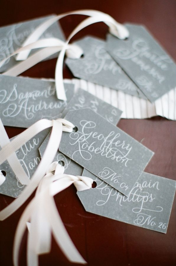 Calligraphy escort tags, photo by Alea Lovely