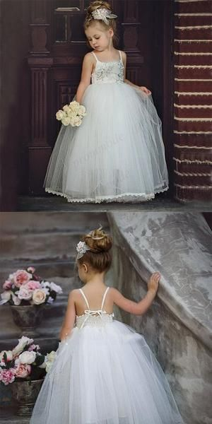 Cintas de espaguete baratas do tule frisadas vestidos longos da menina de flor para a festa de casamento, FGY0175 Cintas de espaguete baratas do tule frisadas vestidos longos da menina de flor para a festa de casamento, FGY0175   – Flower girls dress