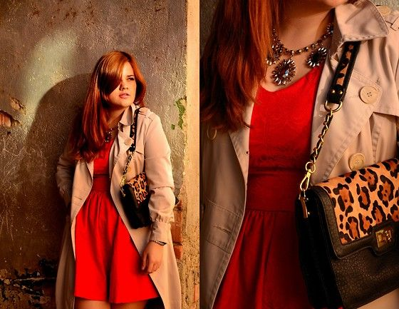 Draguta draguta. :3  [Persunmall Red Dress, Orsay Nude Trench Coat, H&M Statement Necklace, Benvenutti Animal Print Bag]