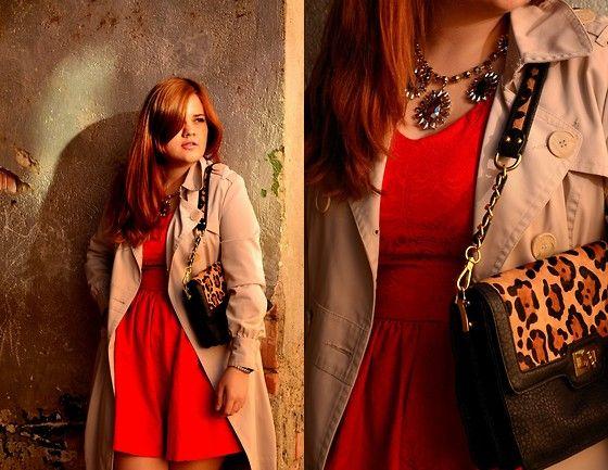 Draguta draguta. :3  [Persunmall Red Dress, Orsay Nude Trench Coat, H&M Statement Necklace, Benvenutti Animal Print Bag]
