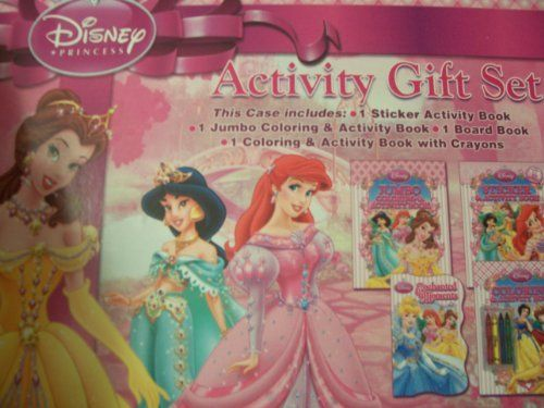 Disney Princess Activity Gift Set 4 Coloring Board Or Sticker Books With Crayons In An Easy To Carry Case
