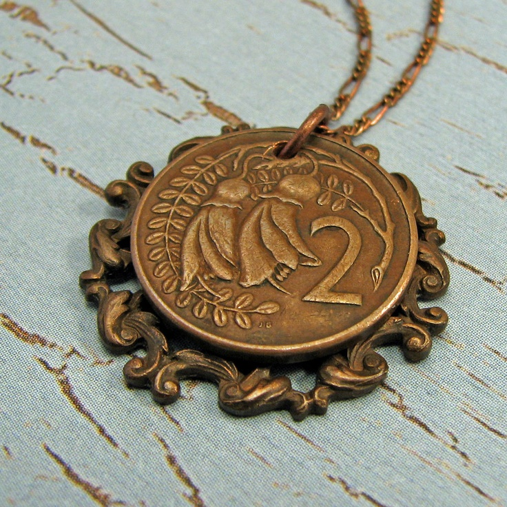 New Zealand coin necklace with kowhai flower by AdornmentsNYC