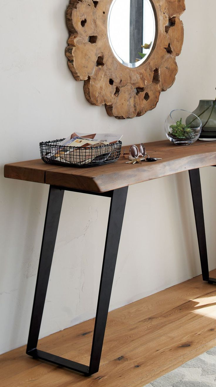 Rustic Wood Console Table Modern Rustic Live Edge Furniture In 2020 Wood Console Table Modern Console Tables Rustic Console Tables
