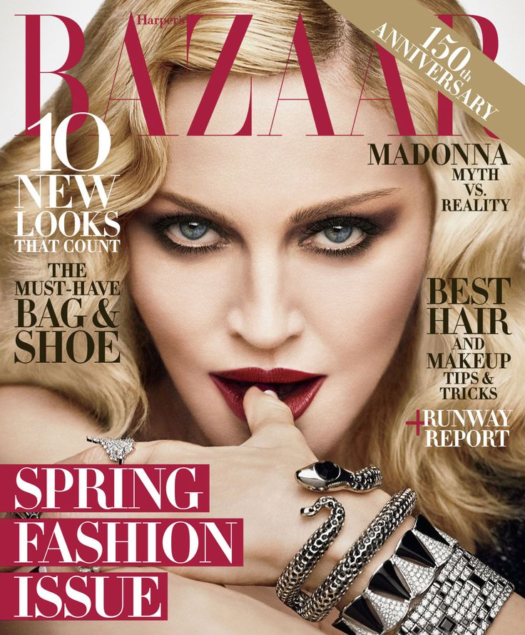 Madonna in a Gucci gown; her own snake bracelet, a Bulgari bracelet, a Tiffany & Co. bracelet & a Fallon ring on the February 2017 cover of Harper's Bazaar US. Photographed by Luigi & Iango.
