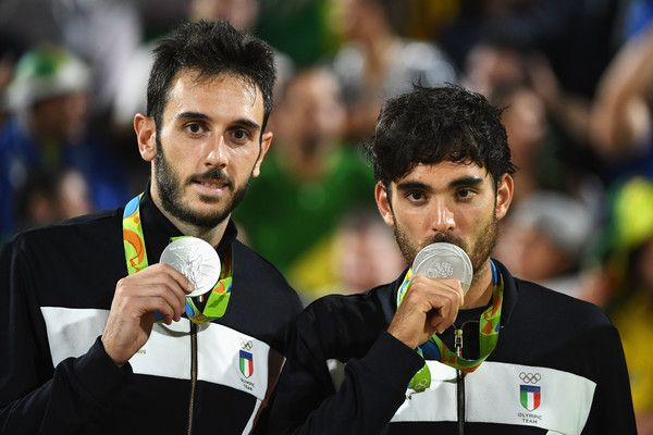 Daniele lupo Photos - Silver medalists Paolo Nicolai and Daniele Lupo of Italy pose on the podium during the medal ceremony for the Men's Beachvolleyball contest at the Beach Volleyball Arena on Day 13 of the 2016 Rio Olympic Games on August 18, 2016 in Rio de Janeiro, Brazil. - Beach Volleyball - Olympics: Day 13
