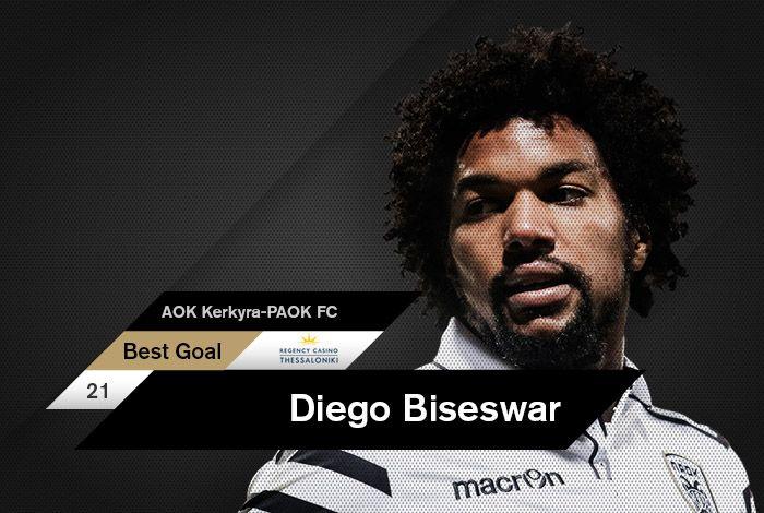 Το πανέμορφο τέρμα του Ντιέγκο Μπίσεσβαρ στην εκτός έδρας αναμέτρηση κόντρα στην ΑΟΚ Κέρκυρα, αναδείχθηκε Regency Casino Best Goal Δεκεμβρίου από τους φίλους του ΠΑΟΚ μέσω της σχετικής ψηφοφορίας του paokfc.gr και του PAOK FC Official App.