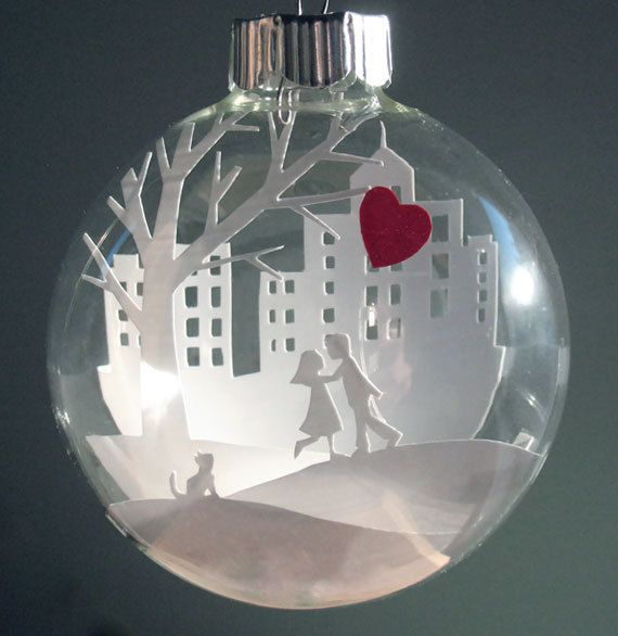 Young Lovers with a Red Heart Balloon Scene Glass Ornament