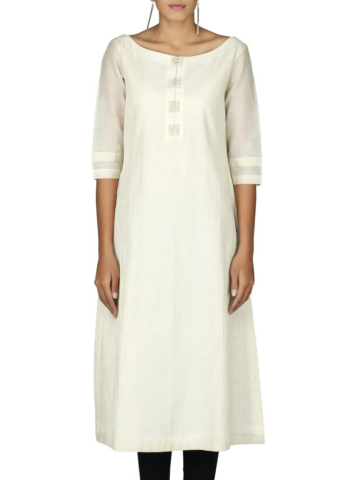 Chanderi cotton self stripe pintex boatneck kurta Shop Now http://bit.ly/1hfe1a7