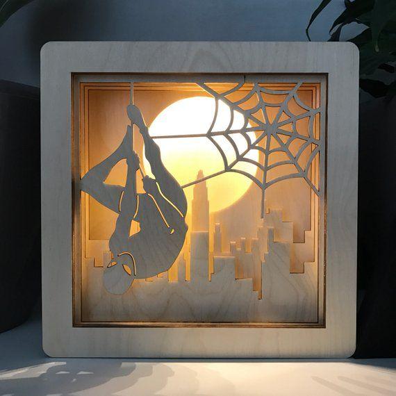 Spider Man Light Spider Man Logo Lamp Spider Man Night Light Etsy Spiderman Wall Art Shadow Box Art 3d Paper Art